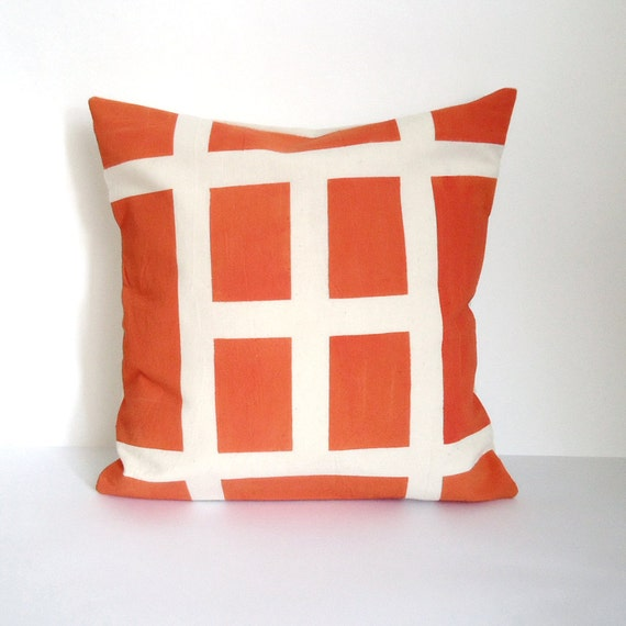 SALE Hand Painted Graphic Lines Cushion Orange