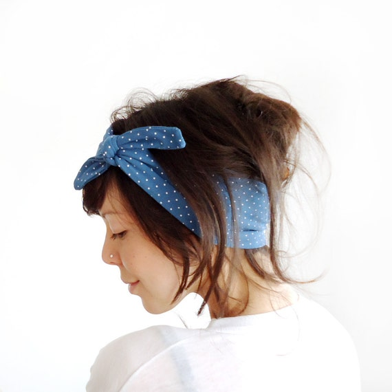 LAST ONE Tie Up Headscarf Blue and White Polka Dot