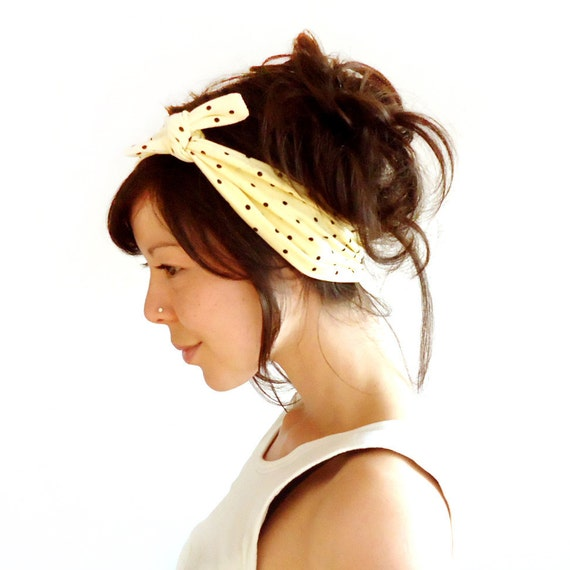 Tie Up Headscarf Yellow with Black Polka Dots