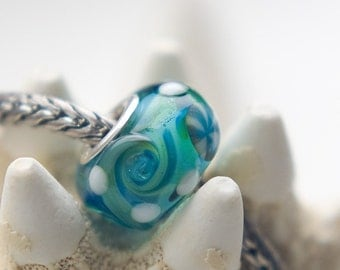 Lampworked - WAVY OCEAN - Big Hole / Slider Bead