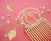 Pearl, Leaf & Crystal on Gold Hair Comb - Custom Color Choices, Free Shipping