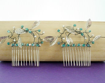 Pearl, Leaf & Crystal Hair Combs  - Crystal Color Choice, Free Shipping