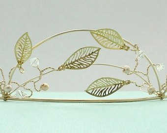 Bridal Tiara - Leaves, Pearls, and Crystals on Gold
