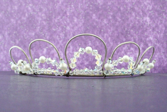 Bridal Tiara, Custom Crystal Color Options, Silver or Gold, Wedding or Special Occasion, Free Shipping