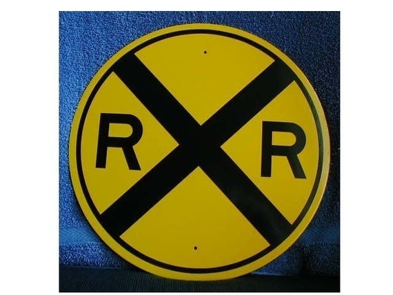 REFLECTIVE RAILROAD CROSSING sign for Room Decoration   Free Shipping