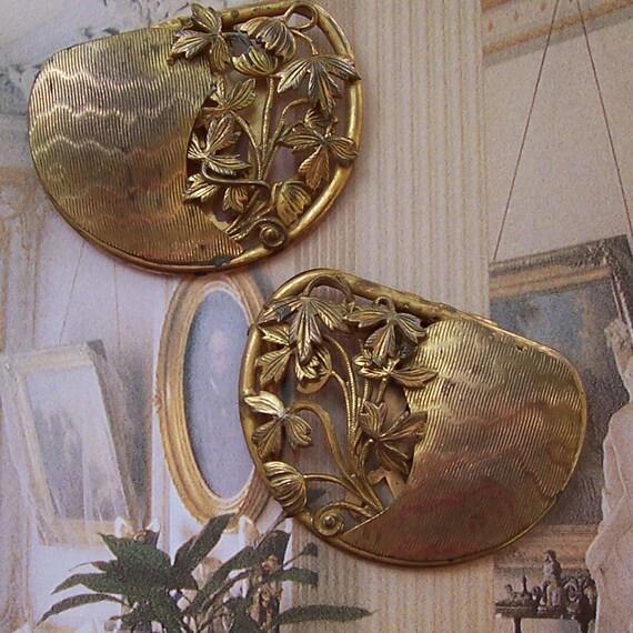 Vintage Art Nouveau Dress Clips, Duette, Clip Mates ... Brass Pair, Set  ... SALE