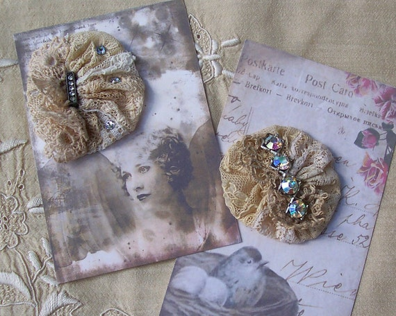 Vintage Lace Collage Rosettes with Rhinestone Jewels ... Ecru ... Embellishments for collage, fabric art, crazy quilts, wear
