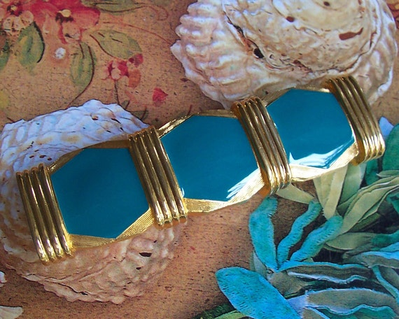 Vintage Turquoise Enamel Double Buckle, Two piece, 1980's ... SALE