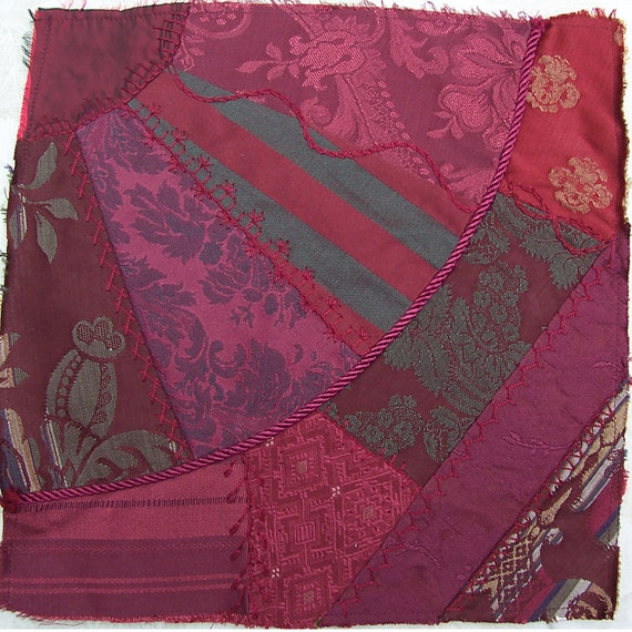 Vintage Crazy Quilt Fan Square, Block ... Burgundy Wine Fabrics ... Damask, taffeta,  jaquard, cotton designer fabrics...SALE