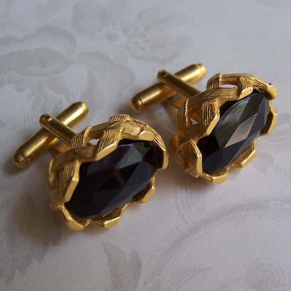 Vintage Black Rhinestone Cuff Links, Cufflinks ... Large jet black faceted, cut glass stones ... 1960s