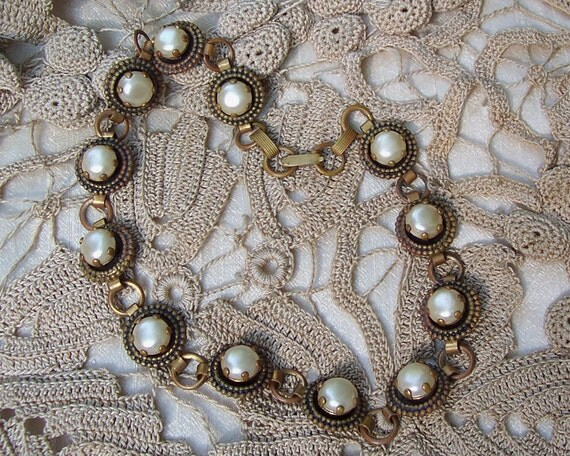 Vintage Copper and Pearl Necklace