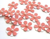 Teeny Tiny Salmon and White Flowers - Set of 20 Scrapbook Flowers