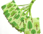 Green Tree Gift Tags - Set of 7 Tags