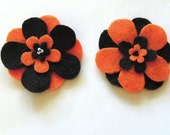 Black and Orange Halloween Felt Flowers - Set of 2 Flowers