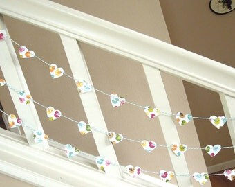 Lovely Birds of Spring Heart Garland - 3 yards of Home Decor