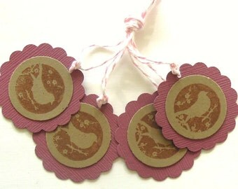 Maroon and Kraft Silhouette Bird Gift Tags - Set of 4 Tags