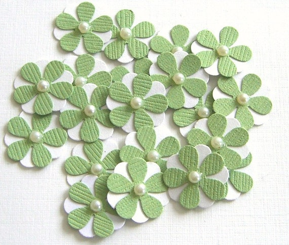 Teeny Tiny  Pistachio Green and White Flowers - Set of 20 Wedding Flowers
