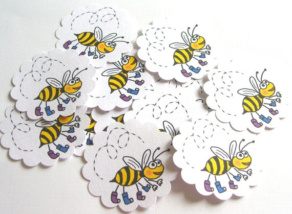 Happy Bee Embellishments/Tags/Favors - Set of 10 Embellishments