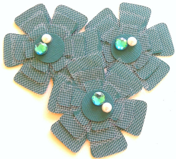 Dark Teal and Tulle Flowers - Set of 3