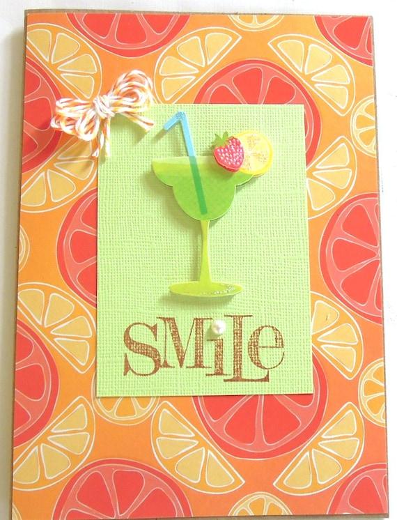 Smile Green Margarita - Handmade Blank/All Occasion Greeting Card