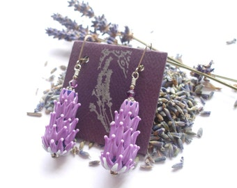 Lavender Glass Bead Earrings in Mauve with Organic Lavender Sachet Buds