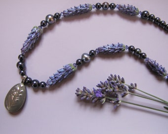 Lavender Locket Pendant Necklace with Handmade Lavender Glass Beads