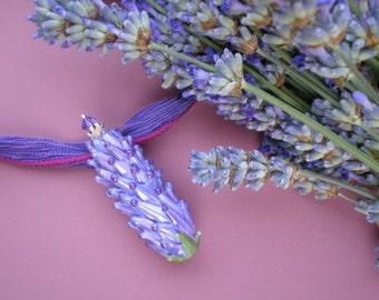 Glass Lavender Esstential Oil Vial Bead on Hand Dyed Silk Cord, color Purple Rose