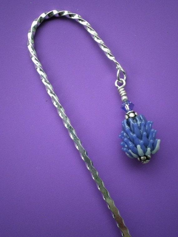 Lavender Glass Bead Bookmark, periwinkle