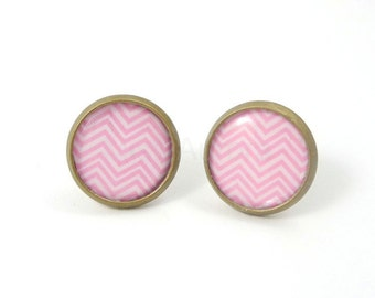 Pink Stud Earrings,Chevron Earrings,Small Earrings,Geometric Earrings,Pastel Earrings,Pink Jewelry (E104)
