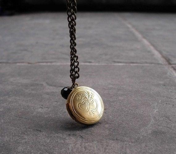 Round Brass Locket - Heart Locket - Engraved Locked - Romantic Necklace - Free Shipping Etsy