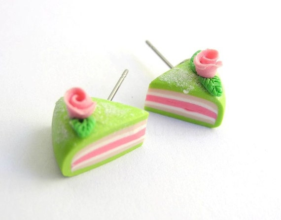 Pink and Green Princess Cake Slices Earring Studs with Rose and Leaves Free Shipping