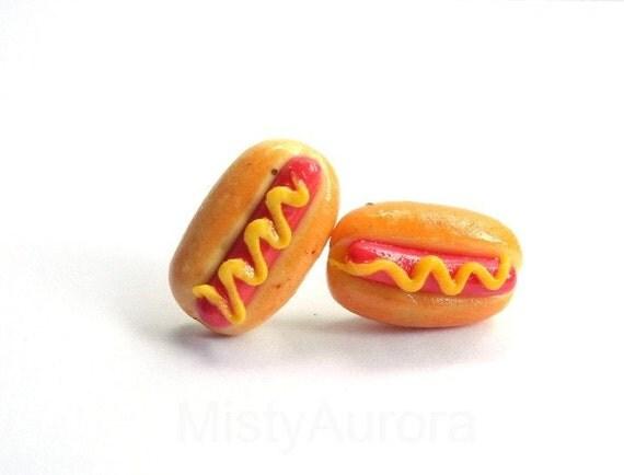 Hot Dog Earring Studs - Junk Food Earring Posts - Novelty Jewelry