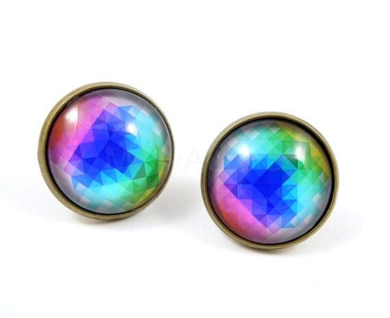 Geometric Rainbow Earrings - Kaleidoscope Earrings - Neon Jewelry - Color Block - Free Shipping - Under 25