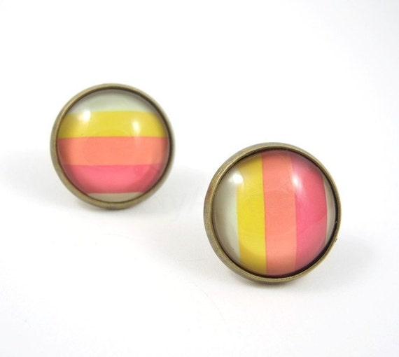 Pastel Earring Studs - Pink Yellow Earring Posts - Colorful Earring Studs - Line Earrings - BoxingDaySale