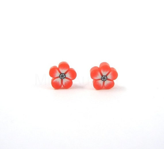 Tiny Red Flower Earring Studs Free Shipping Etsy Blue White Navy Gift for her under 10