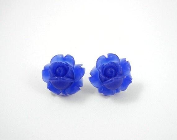 Navy Blue Flowers Earring Studs Free Shipping Rose Dark Blue