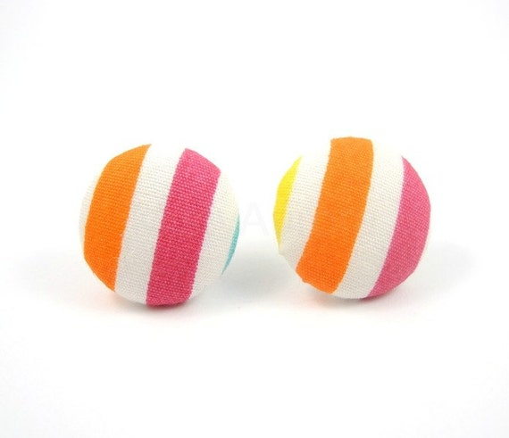 Pink and Orange Stripes White Earring Studs Geometric Colorful Vivid Jewelry Free Shipping Etsy