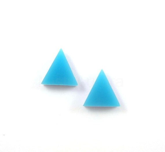 Aqua Blue Triangle Earring Posts - Turquoise Blue Triangle Earring Studs - Geometric Earrings
