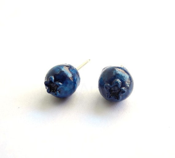 Blueberries Earrings - Studs Dark Blue Berry Summer Fruit Free Shipping Etsy