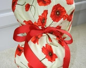 Turn Up Ponytail Scrub Hat with Red Poppies