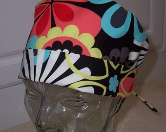 Tie Back Surgical Scrub Hat with Flower Shower