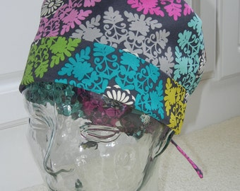 Tie Back Surgical Scrub Hat in Mosaic Medallion