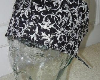 Tie Back Surgical Scrub Hat with Leafy Scrolls