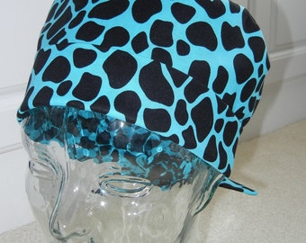 Tie Back Surgical Scrub Hat with Animal Skin Blue