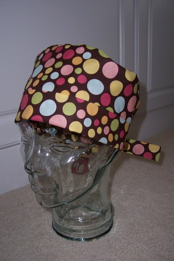 Tie Back Surgical Scrub Hat with Whimsy Dots