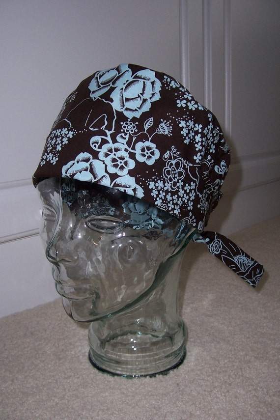 Tie Back Surgical Scrub Hat with Chocolate Blue Floral