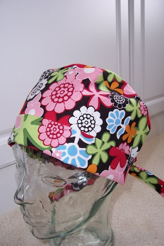 Tie Back Surgical Scrub Hat with Flower Toss
