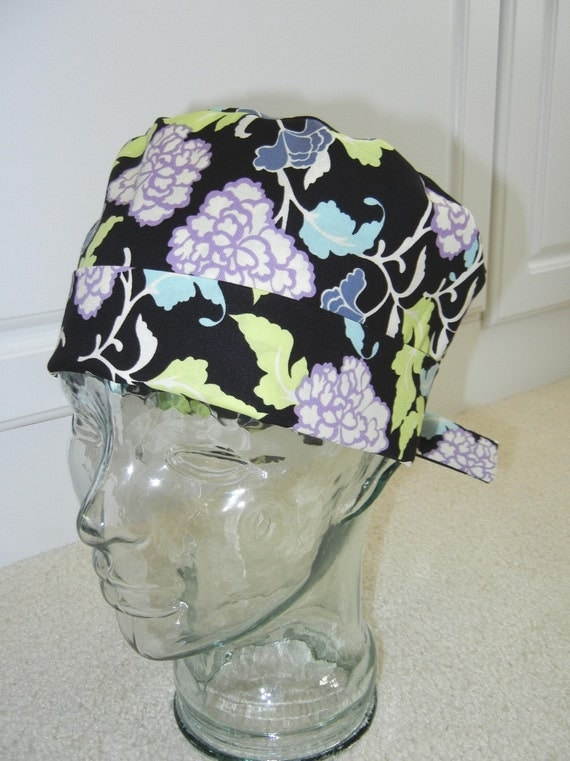 Tie Back Surgical Scrub Hat with Midnight Lavender