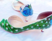 Shoes Bridal Wedding painted peacock on medium heel satin shoes MARGARET