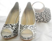 Wedding shoes and clutch bag painted leopard print and swarovski crystals